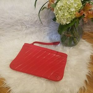 Red hot, VINTAGE, leather clutch!!